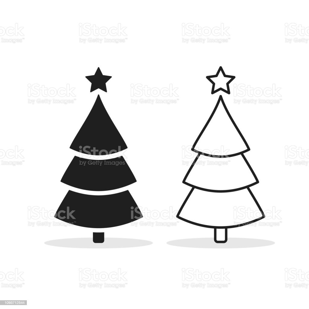 Christmas Tree Line Icon Set Decorated Outline Sign Isolated On White Vector Illustration Stock Illustration Download Image Now