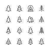 16 Christmas Tree Outline Icons.