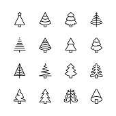16 Christmas Tree Outline Icons.