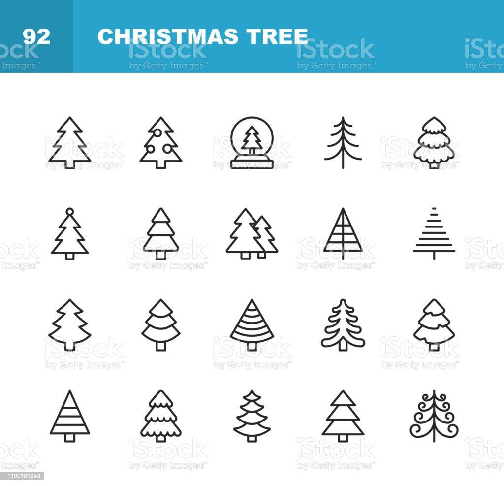Weihnachtsbaum Linie Icons. Bearbeitbarer Strich. Pixel perfekt. Für Mobile und Web. Enthält solche Symbole wie Weihnachtsbaum, Natur, Urlaub, Weihnachten, Kiefer, Winter. - Lizenzfrei Abstrakt Vektorgrafik