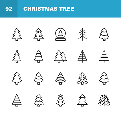 Christmas Tree Line Icons. Editable Stroke. Pixel Perfect. For Mobile and Web. Contains such icons as Christmas Tree, Nature, Holiday, Christmas, Pine Tree, Winter.
