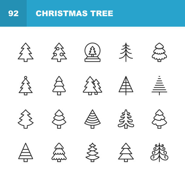 christmas tree line icons. editable stroke. pixel perfect. for mobile and web. contains such icons as christmas tree, nature, holiday, christmas, pine tree, winter. - holiday season stock illustrations