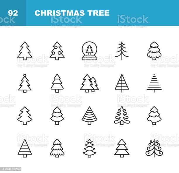 Weihnachtsbaum Linie Icons Bearbeitbarer Strich Pixel Perfekt Für Mobile Und Web Enthält Solche Symbole Wie Weihnachtsbaum Natur Urlaub Weihnachten Kiefer Winter Stock Vektor Art und mehr Bilder von Abstrakt