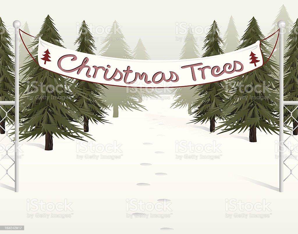 Christmas Tree Lot royalty-free stock vector art