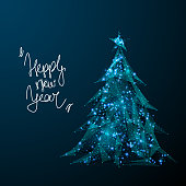 Abstract image of a Christmas tree in the form of a starry sky or space, consisting of points, lines, and shapes in the form of planets, stars and the universe. Vector happy new year nature concept.