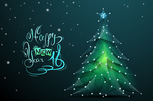 Christmas tree low poly with lettering