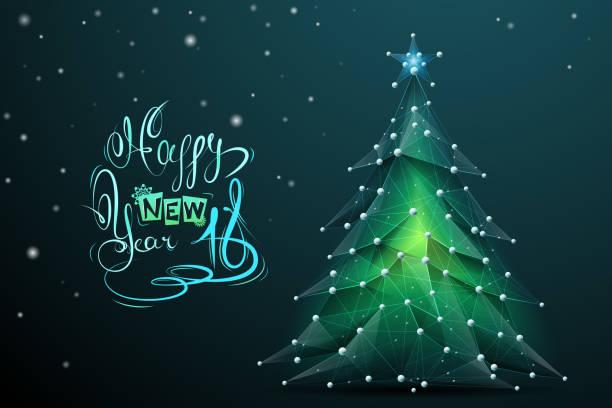 illustrazioni stock, clip art, cartoni animati e icone di tendenza di christmas tree low poly with lettering - sfondo vacanze e stagionali