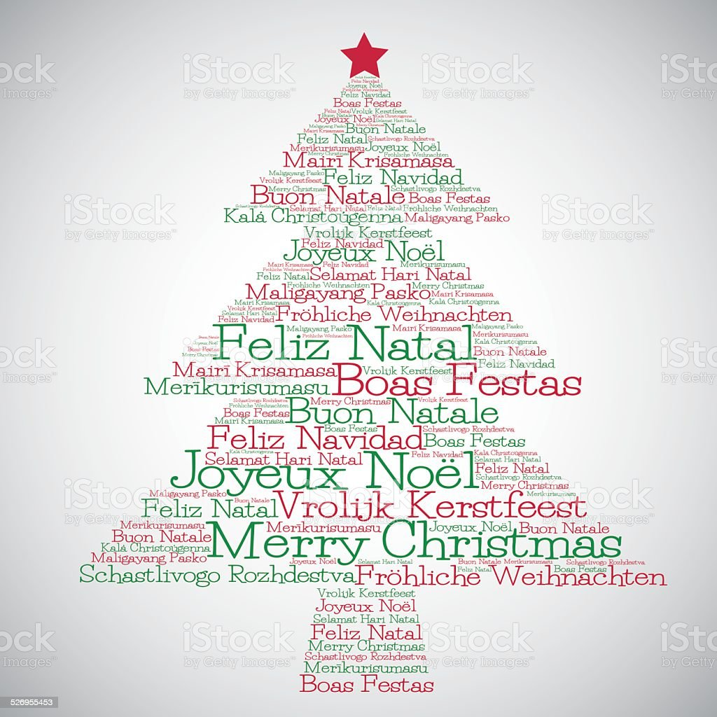 Christmas Tree Made From Merry In Different Language Royalty Free