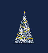 Vector illustration of a Christmas tree made from snow on a blue background. Merry Christmas card with snowflakes