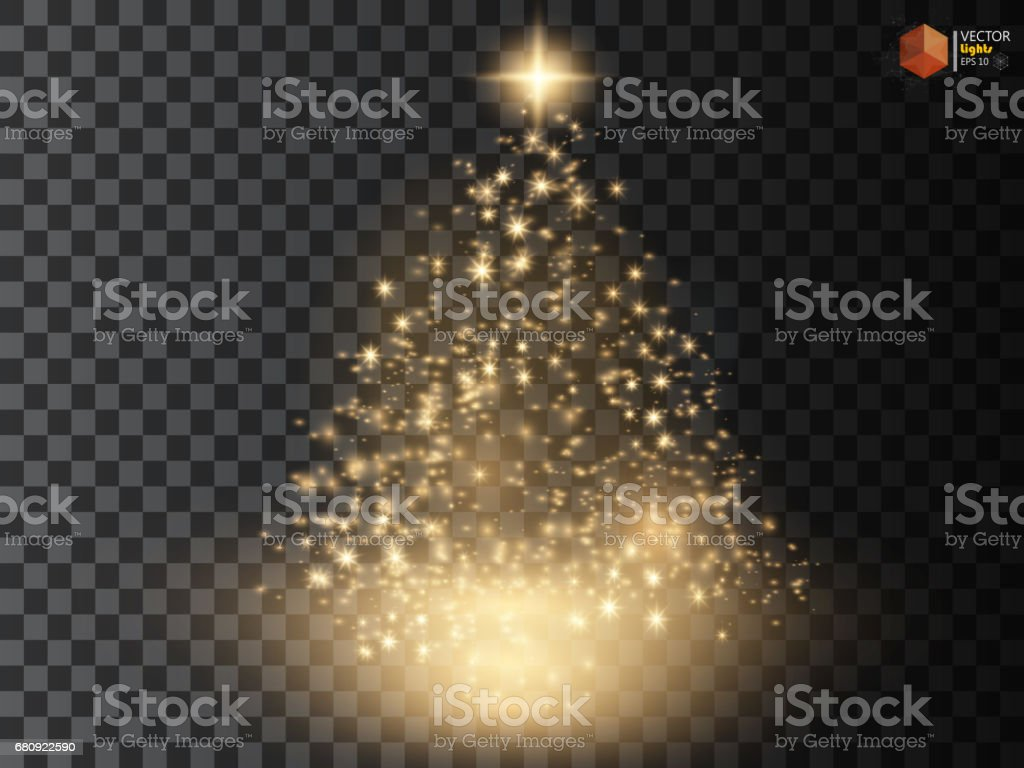 Christmas Tree made, Golden glitter bokeh lights and sparkles. Shining star, sun particles  sparks with lens flare effect royalty-free christmas tree made golden glitter bokeh lights and sparkles shining star sun particles sparks with lens flare effect stock vector art & more images of blurred motion