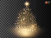 Christmas Tree made, Golden glitter bokeh lights and sparkles. Shining star, sun particles  sparks with lens flare effect on transparent background