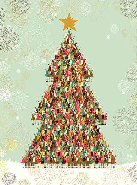 Christmas tree made of a pattern of kids vector art illustration