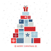 Christmas tree made of gift boxes stock illustration