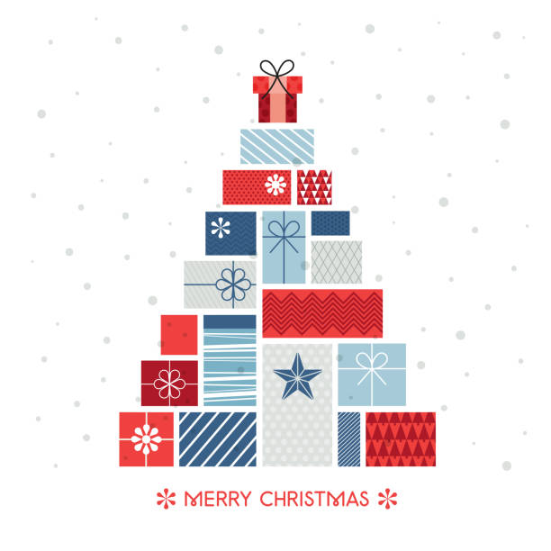 weihnachtsbaum aus geschenk-boxen lager-illustration - weihnachtsgeschenk stock-grafiken, -clipart, -cartoons und -symbole