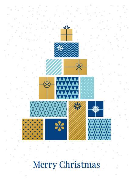 illustrazioni stock, clip art, cartoni animati e icone di tendenza di albero di natale fatto di scatole regalo. - regalo natale