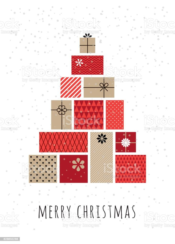 Christmas tree made of gift boxes vector art illustration