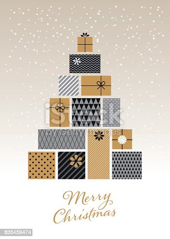 Christmas tree made of gift boxes - Illustration