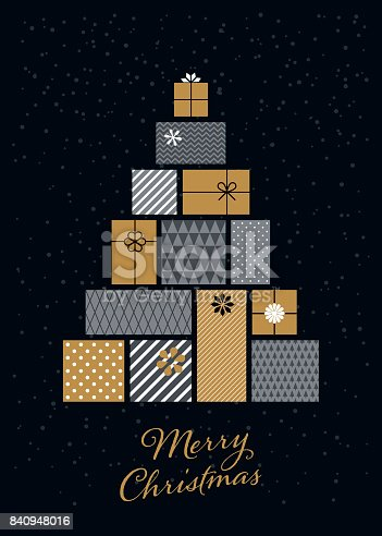 istock Christmas tree made of gift boxes 840948016