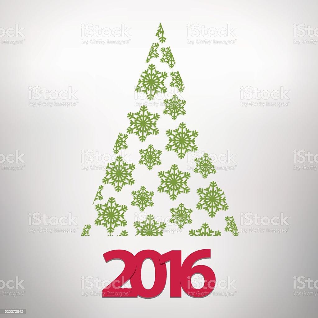 Christmas tree made of green snow crystals with 2016 christmas tree made of green snow crystals with 2016 - stockowe grafiki wektorowe i więcej obrazów 2016 royalty-free