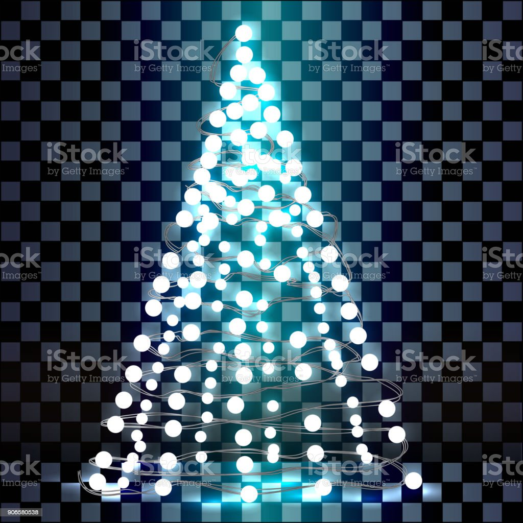 Christmas Tree Made Of Lights On A Transparent Background Stock