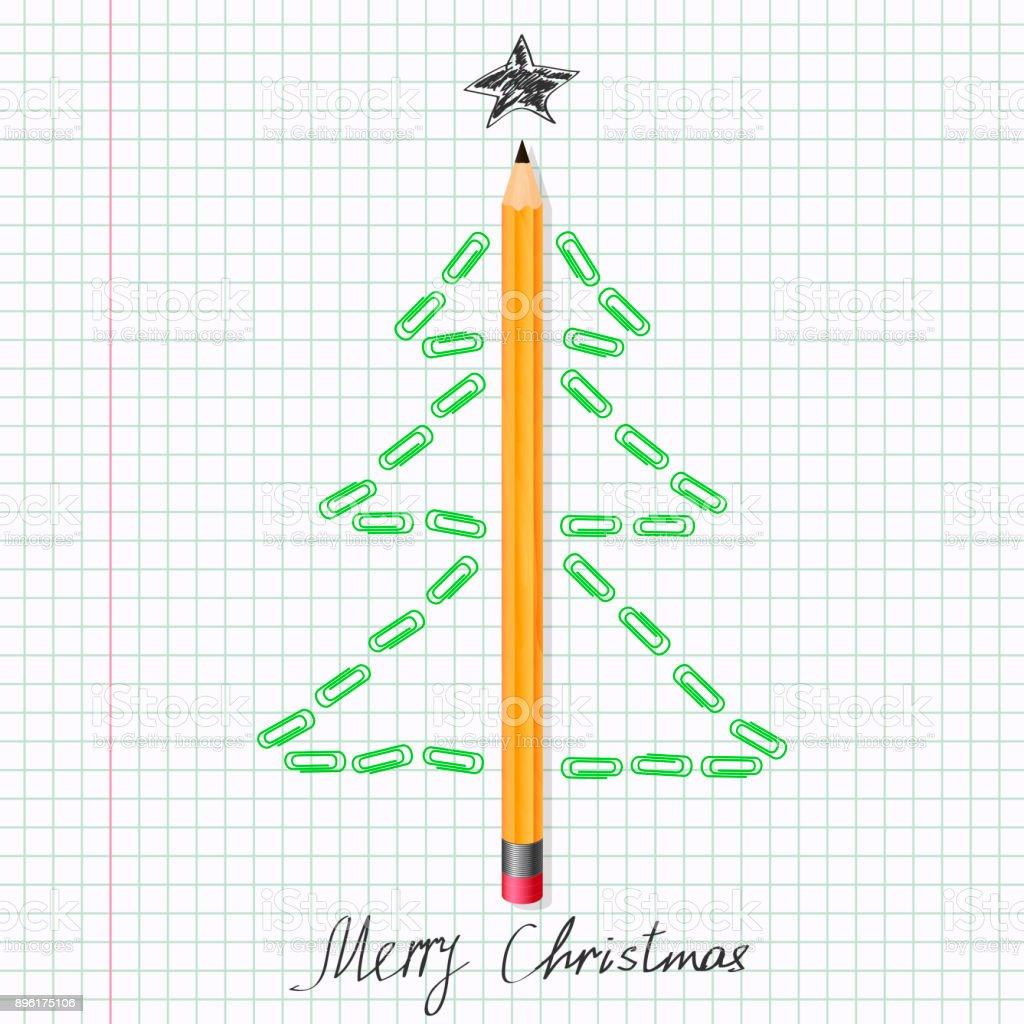 Weihnachten Baum Aus Büroklammern Auf Notebookblatt Und Bleistift ...