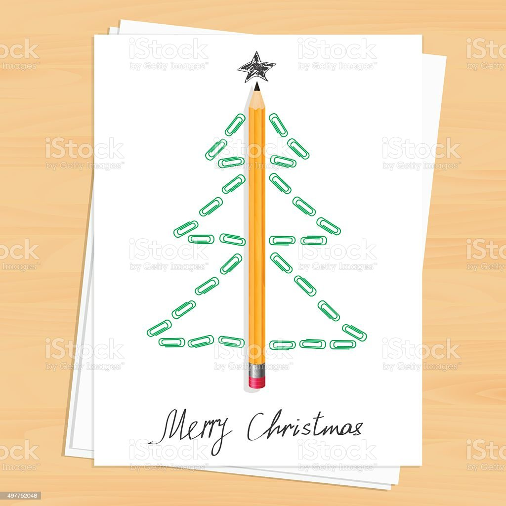Christmas tree made of pencil and paper clips stock vector art christmas tree made of pencil and paper clips royalty free christmas tree made of pencil malvernweather Image collections