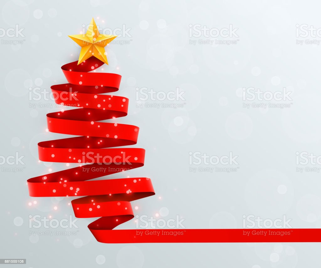 christmas tree made of red ribbon on bright background new year and christmas greeting card