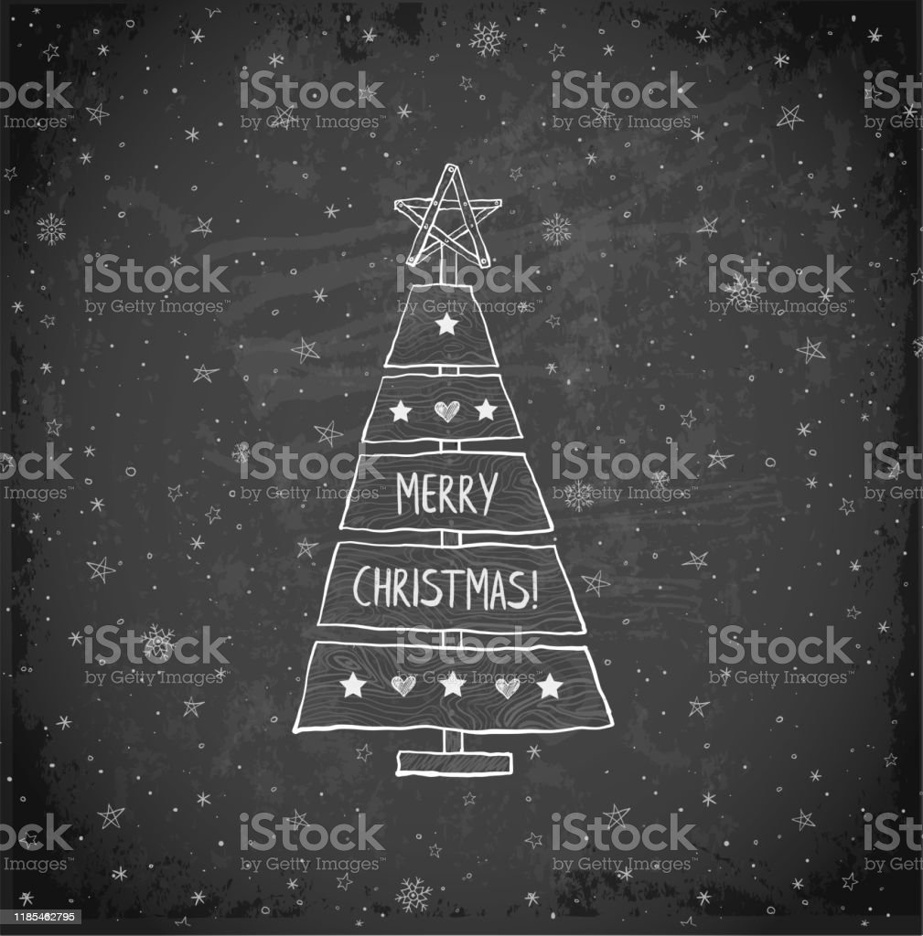 Christmas Tree Made Of Sawn Wood Board Christmas Card In Simple Rustic Style On Blackboard Background Stock Illustration Download Image Now Istock