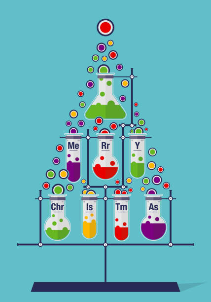 christmas tree made of test tubes and bubbles on cyan background - chemistry icons - alejomiranda stock illustrations