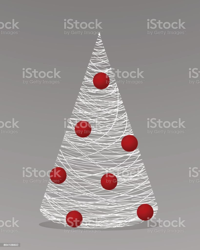 Christmas Tree Made Of White Yarn With Red Balls Royalty Free