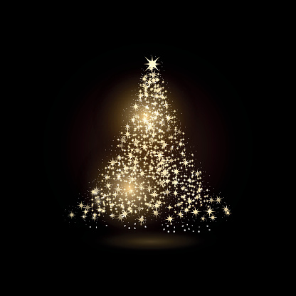 Christmas tree made with gold sparkles on black background.