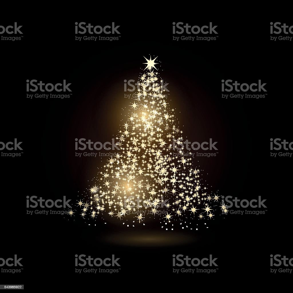 Christmas tree made with gold sparkles on black background. vector art illustration