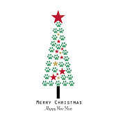 Christmas tree made with paw print. Happy new year and Mery Christmas greeting card