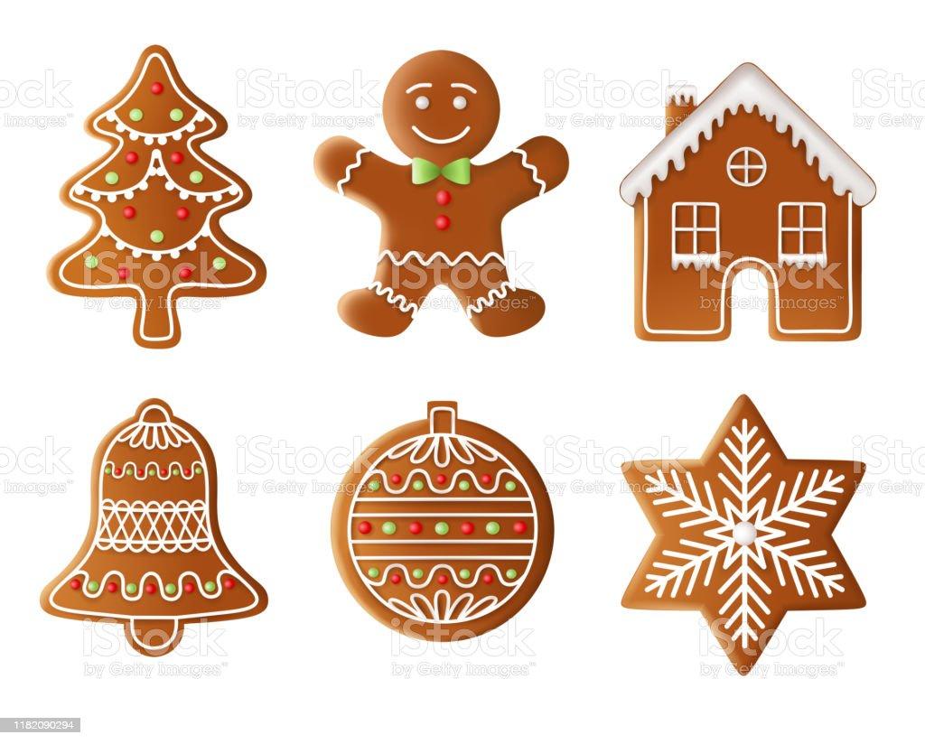 christmas tree, man, house, bell, ball and star gingerbread illustration - Royalty-free Arte Linear arte vetorial