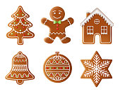 christmas tree, man, house, bell, ball and star gingerbread illustration vector