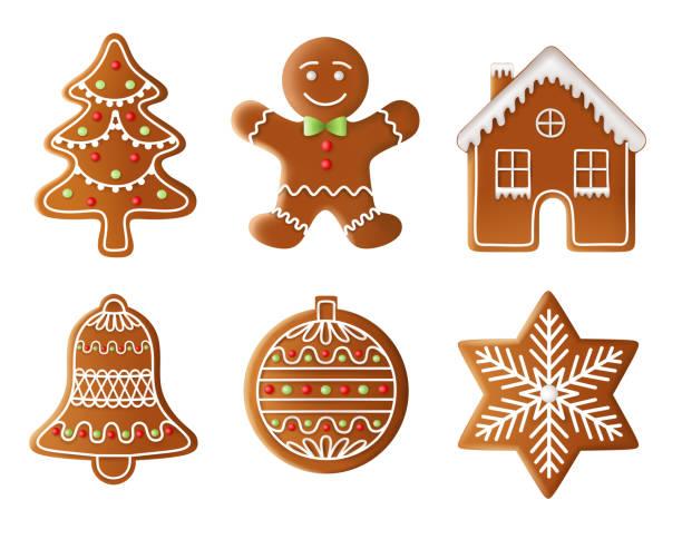 ilustrações de stock, clip art, desenhos animados e ícones de christmas tree, man, house, bell, ball and star gingerbread illustration - bolacha