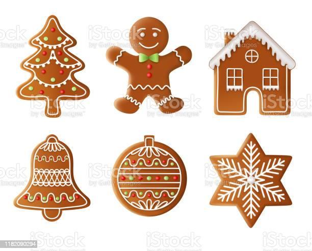 Christmas Tree Man House Bell Ball And Star Gingerbread Illustration - Arte vetorial de stock e mais imagens de Arte Linear
