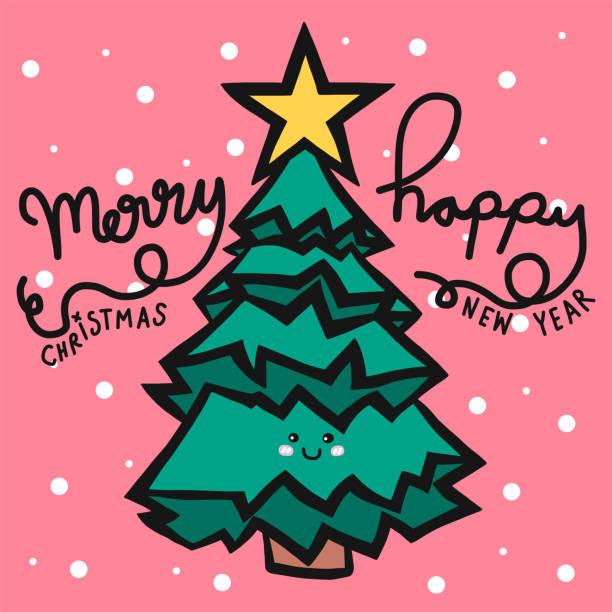 stockillustraties, clipart, cartoons en iconen met kerstboom prettige kerstdagen en gelukkig nieuwjaar schattig - 2010 2019