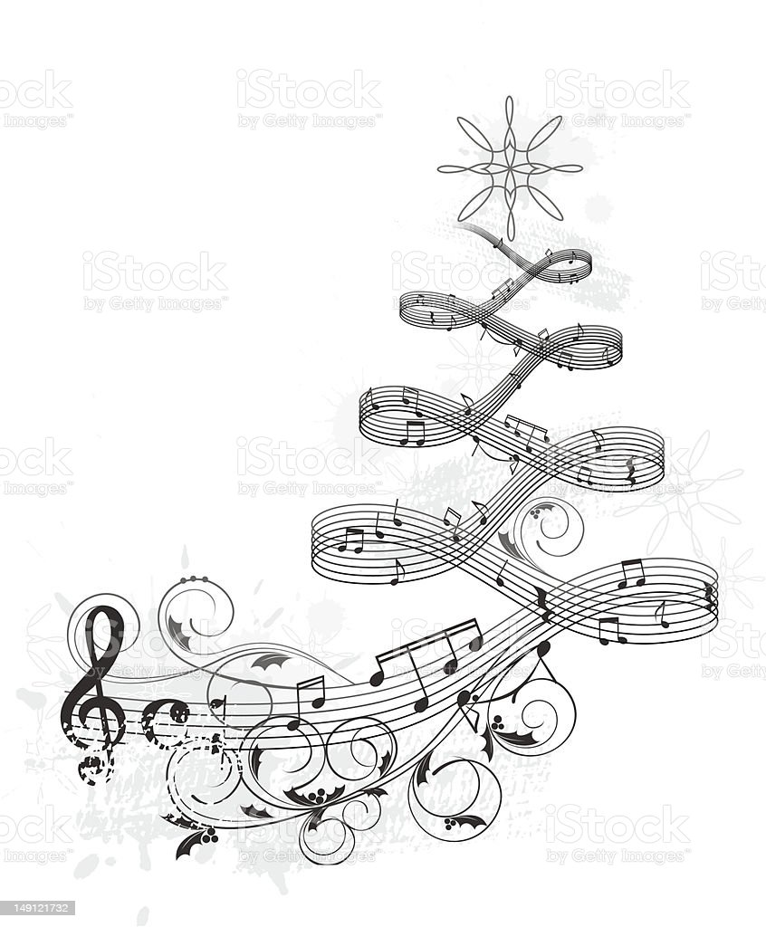 Christmas tree music banner royalty-free stock vector art