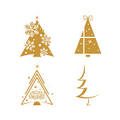 Christmas tree New Year logo, pine tree icon, outline pictogram for Christmas invitation, party design, celebration poster, banner. Fir geometric icon with snow for holiday decoration