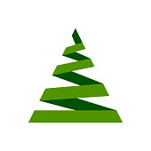Christmas Tree single flat icon. Xmas, New year simple sign in cartoon style. Winter pictogram symbol. Closeup color vector illustration isolated on white. Graphic design element for card, print, logo