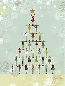 Group of children from all over the world making a christmas tree. Note: grouped and layered file for easy edition.