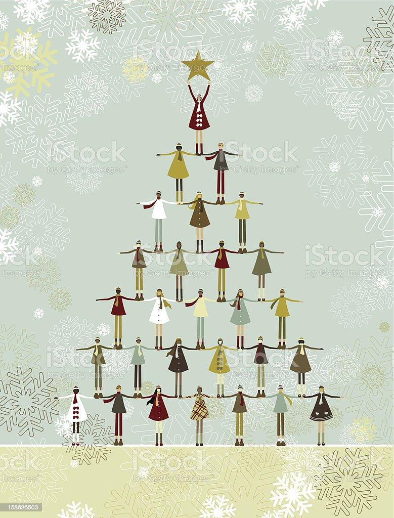 Christmas tree of children vector art illustration
