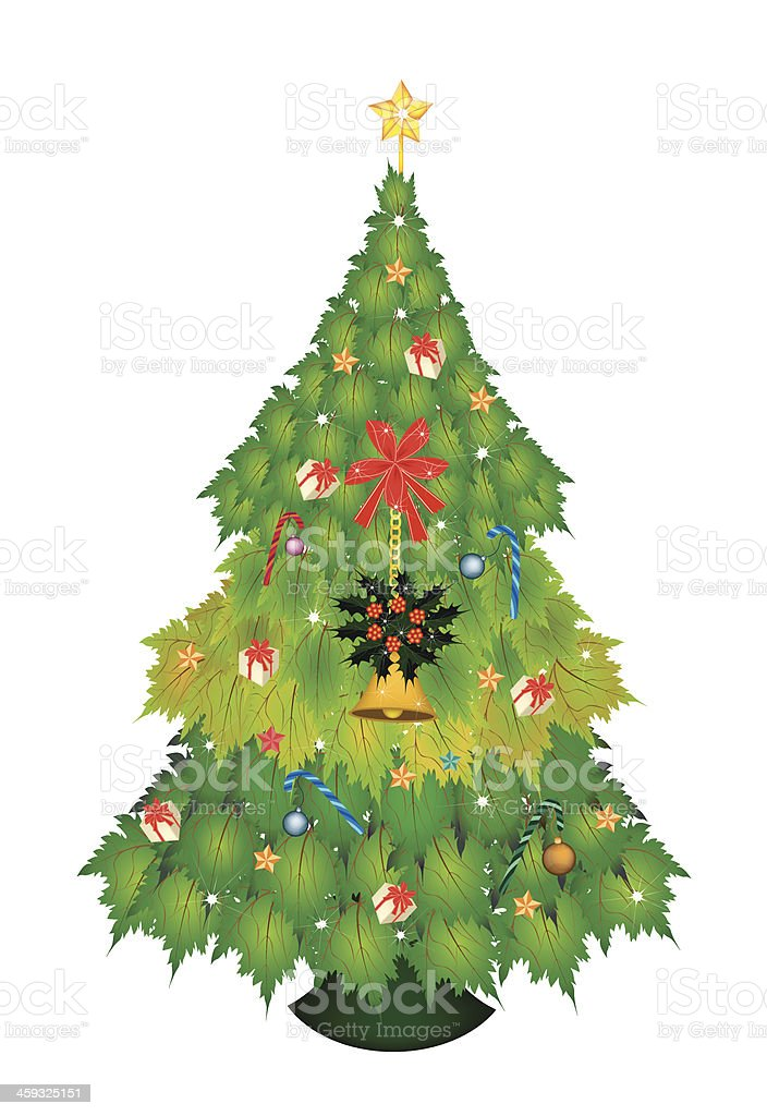 Christmas Tree of Maple Leaves with Ornament royalty-free stock vector art