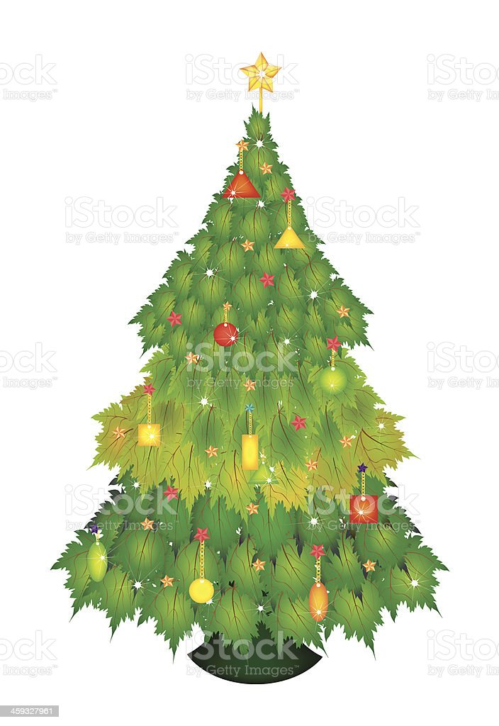 Christmas Tree of Maple Leaves with Tag and Bow royalty-free stock vector art