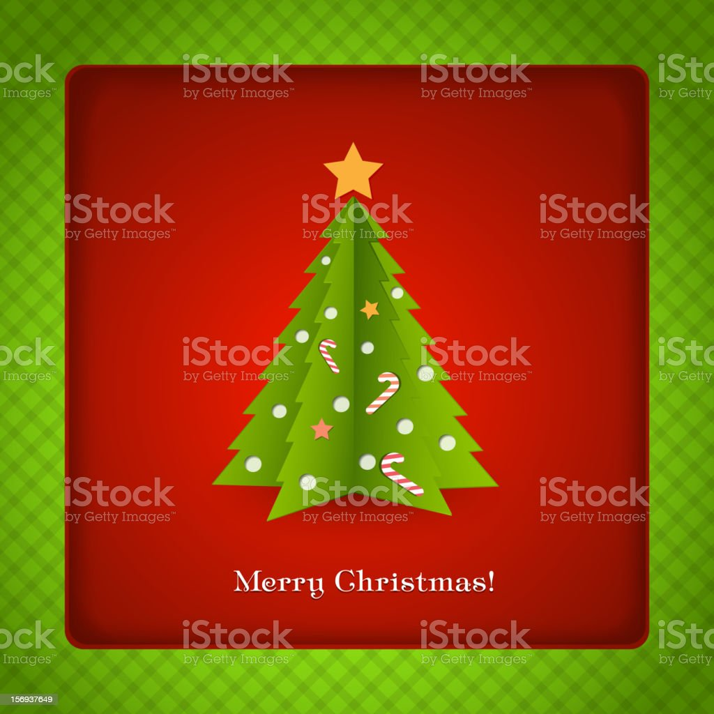 Christmas tree on a red background and green boarder royalty-free stock vector art
