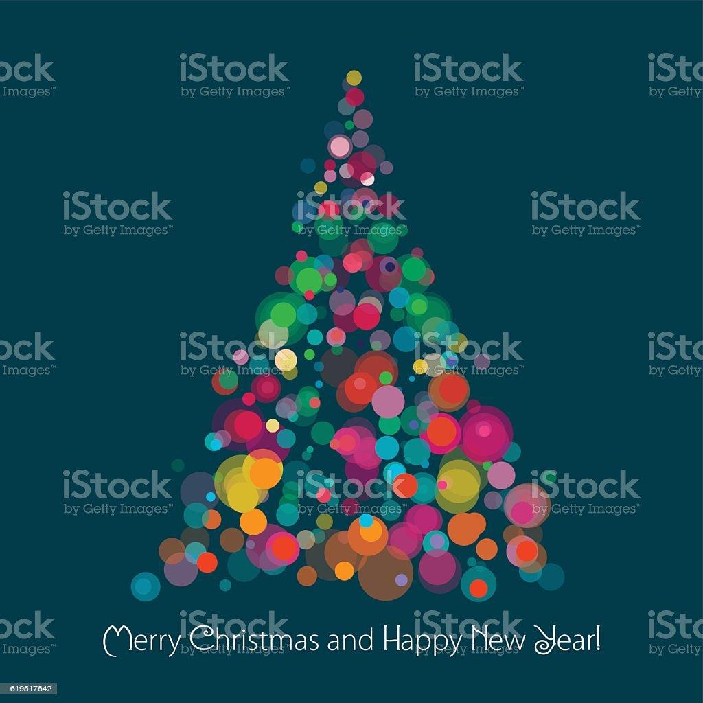 Christmas Tree On Dark Background vector art illustration