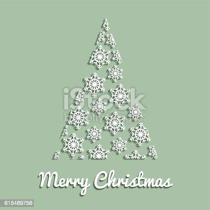 Christmas Tree On Light Green Background White Snow Crystals Vektor
