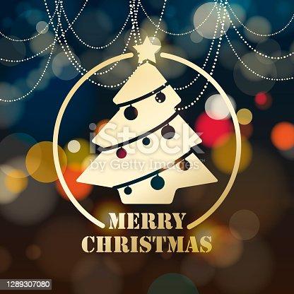 istock Christmas Tree on Lights Background 1289307080