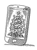 Christmas Tree On Smart Phone Screen Drawing